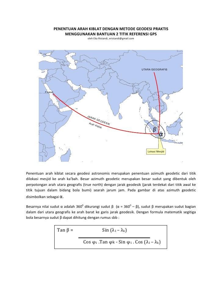 Penentuan dan perhitungan arah kiblat dengan teknik ilmu geodesi praktis