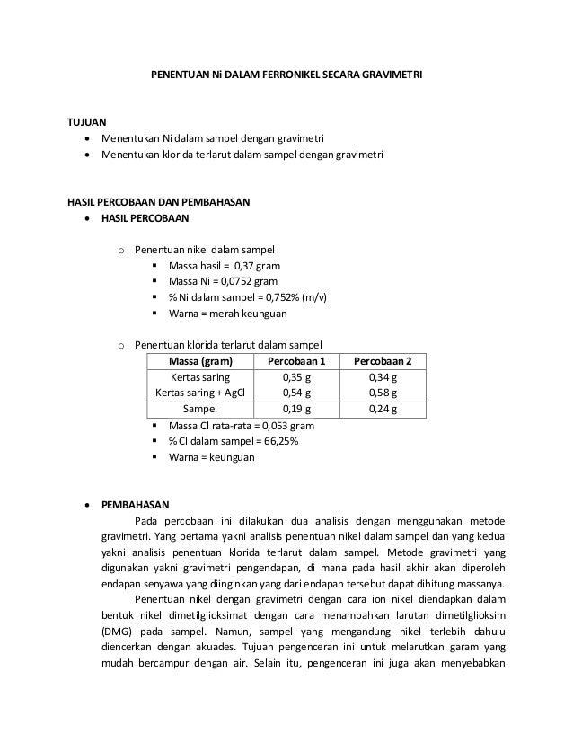 PENENTUAN Ni DALAM FERRONIKEL SECARA GRAVIMETRI  TUJUAN   Menentukan Ni dalam sampel dengan gravimetri   Menentukan klor...