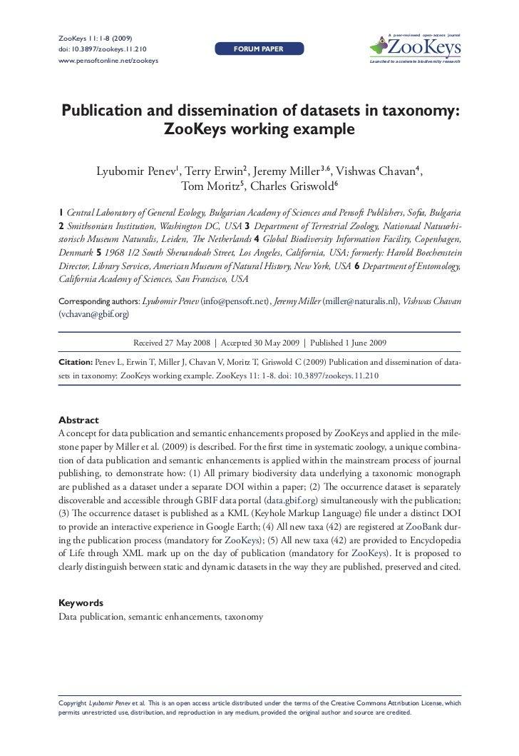 Penev, L et al. Publ Dissem Data Zookeys 06 01 09