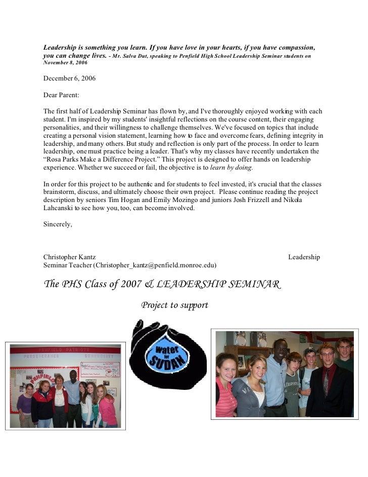 Penfield High School Wfs   Parent Info Letter