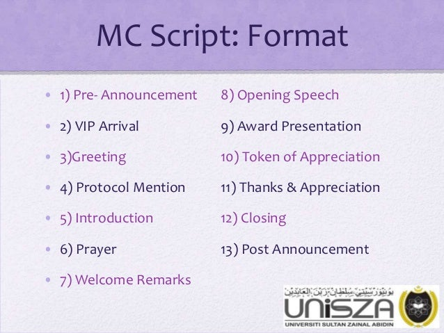 MC Script: Format • 1) Pre- Announcement 8) Opening Speech • 2 ...
