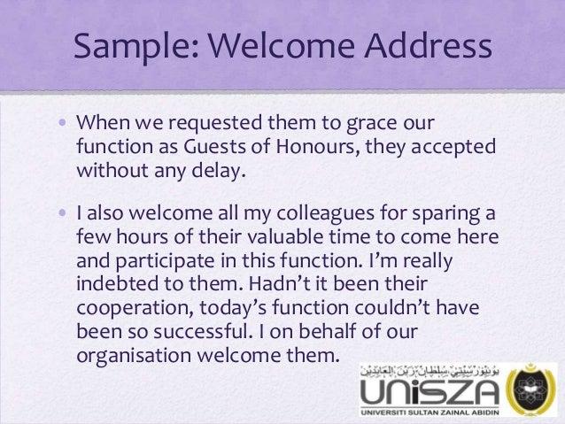 Sample Welcome Address For High School Graduation ...