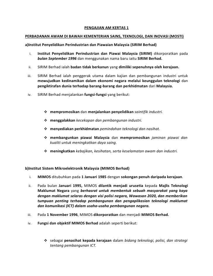 PENGAJIAN AM KERTAS 1PERBADANAN AWAM DI BAWAH KEMENTERIAN SAINS, TEKNOLOGI, DAN INOVASI (MOSTI)a)Institut Penyelidikan Per...