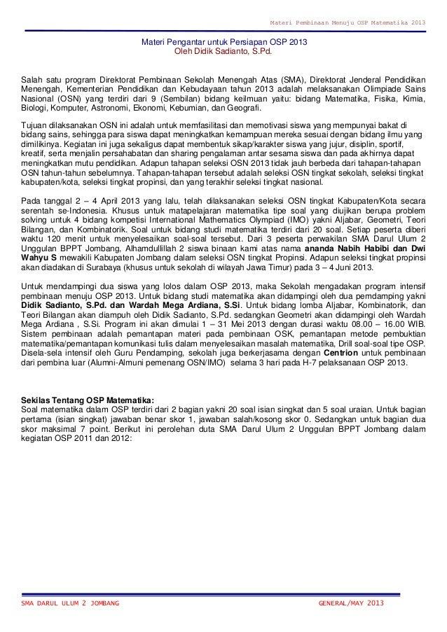 Materi Pembinaan Menuju OSP Matematika 2013SMA DARUL ULUM 2 JOMBANG GENERAL/MAY 2013Materi Pengantar untuk Persiapan OSP 2...