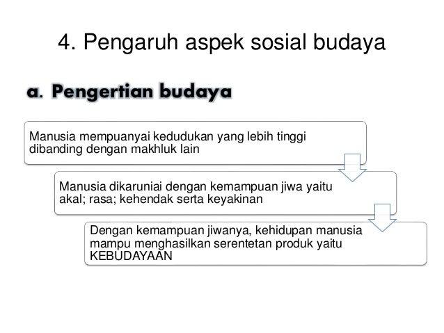 4. Pengaruh aspek sosial budaya a. Pengertian budaya Manusia mempuanyai kedudukan yang lebih tinggi dibanding dengan makhl...