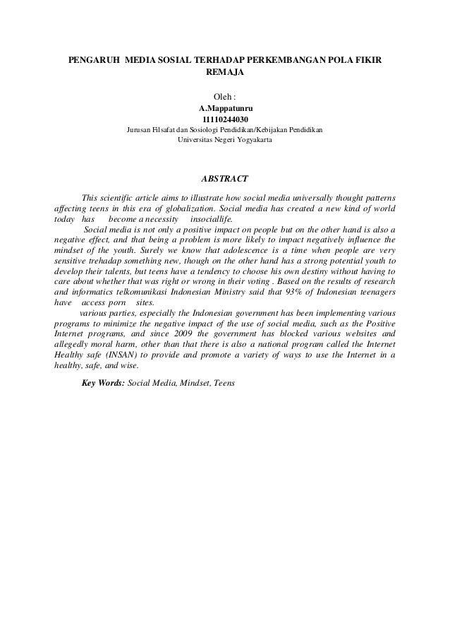 PENGARUH MEDIA SOSIAL TERHADAP PERKEMBANGAN POLA FIKIRREMAJAOleh :A.Mappatunru11110244030Jurusan Filsafat dan Sosiologi Pe...