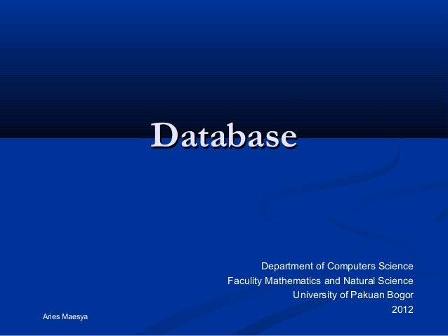 Database                           Department of Computers Science                   Faculity Mathematics and Natural Scie...