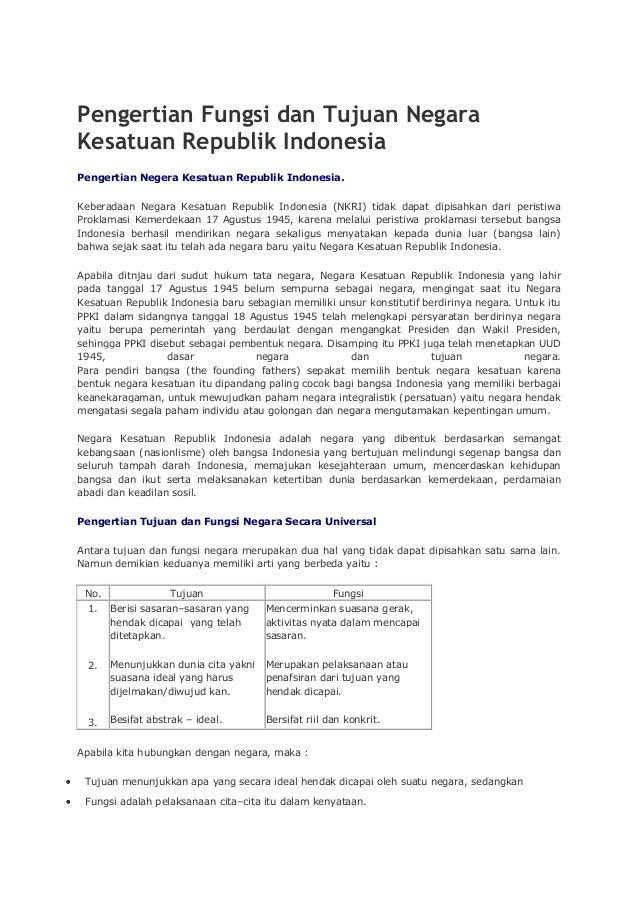 Pengertian fungsi dan tujuan negara kesatuan republik