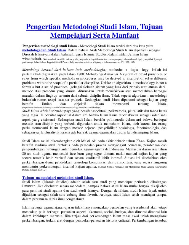 Pengertian metodologi studi islam