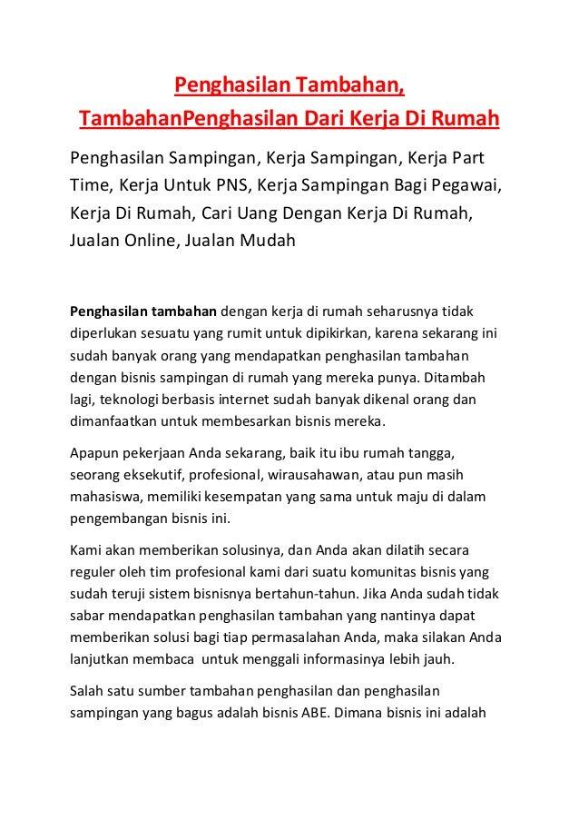 Penghasilan Tambahan, TambahanPenghasilan Dari Kerja Di RumahPenghasilan Sampingan, Kerja Sampingan, Kerja PartTime, Kerja...