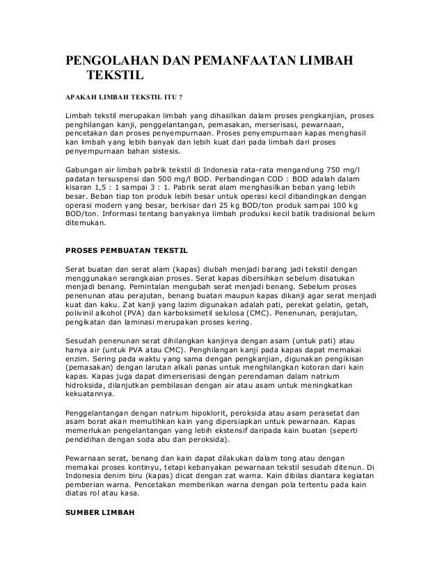 Pengolahan dan pemanfaatan limbah tekstil