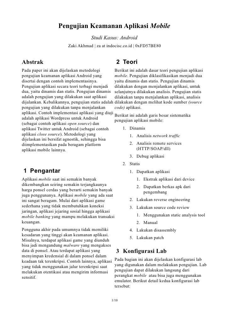 Pengujian Keamanan Aplikasi Mobile                                     Studi Kasus: Android                         Zaki A...