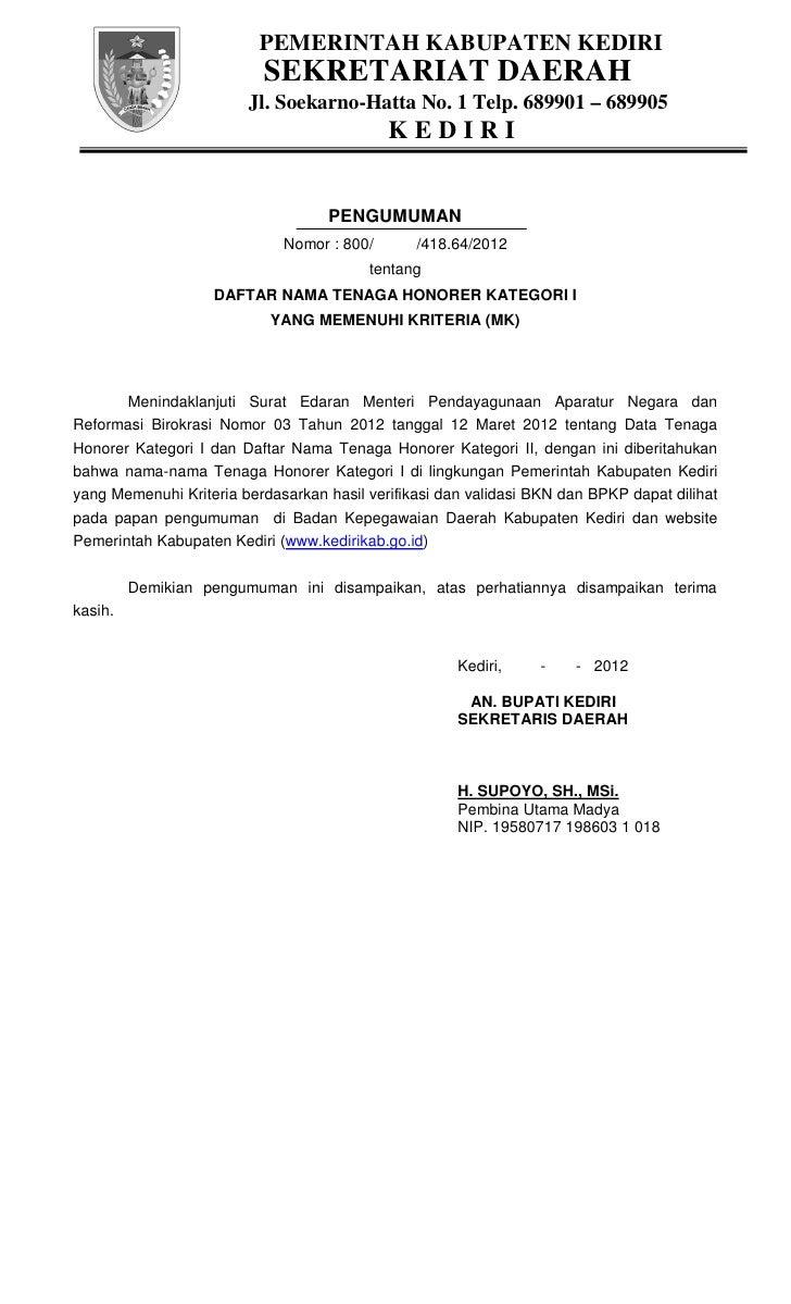 PEMERINTAH KABUPATEN KEDIRI                          SEKRETARIAT DAERAH                        Jl. Soekarno-Hatta No. 1 Te...
