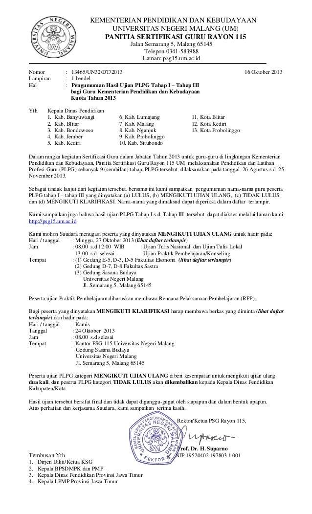 pengumuman plpg 2013 tahap 1 s/d 3
