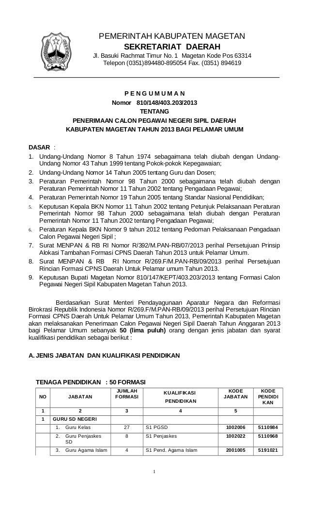 P E N G U M U M A N Nomor 810/148/403.203/2013 TENTANG PENERIMAAN CALON PEGAWAI NEGERI SIPIL DAERAH KABUPATEN MAGETAN TAHU...