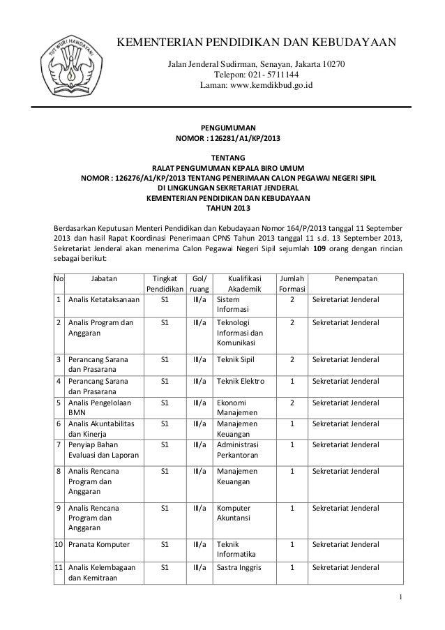 KEMENTERIAN PENDIDIKAN DAN KEBUDAYAAN Jalan Jenderal Sudirman, Senayan, Jakarta 10270 Telepon: 021- 5711144 Laman: www.kem...