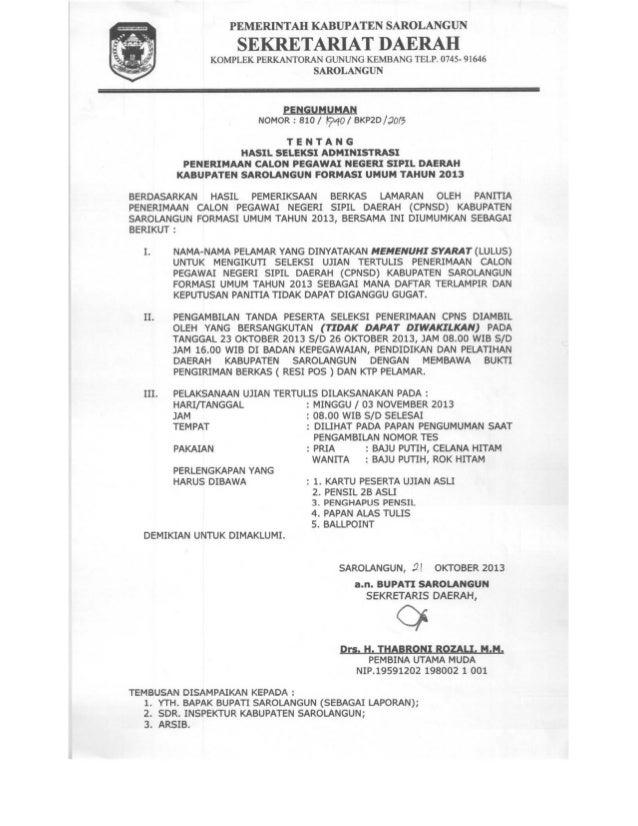 Lampiran Nomor Tanggal Tentang  : : : :  Pengumuman Bupati Sarolangun 810/ /BKP2D/2013 21 Oktober 2013 Hasil Seleksi Admin...