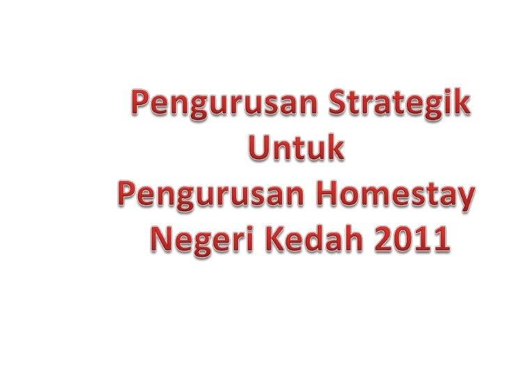 Pengurusan strategik untuk homestay