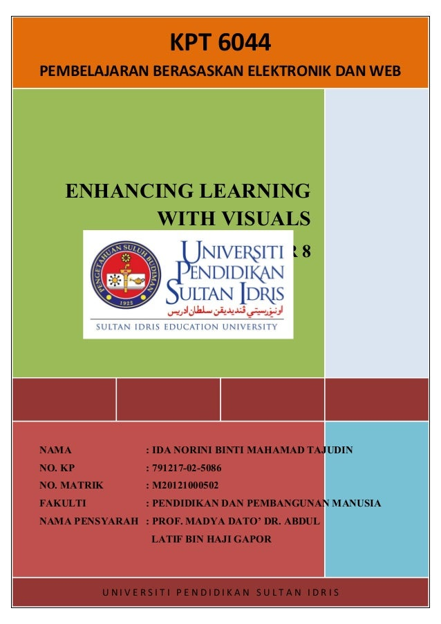 KPT 6044 PEMBELAJARAN BERASASKAN ELEKTRONIK DAN WEB  ENHANCING LEARNING WITH VISUALS CHAPTER 8  NAMA  : IDA NORINI BINTI M...