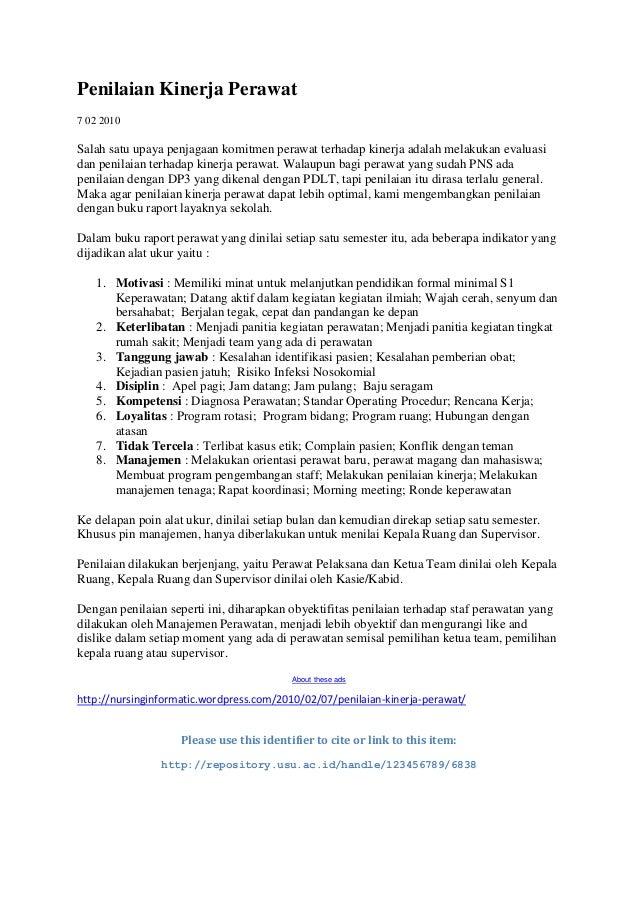 Penilaian Kinerja Perawat7 02 2010Salah satu upaya penjagaan komitmen perawat terhadap kinerja adalah melakukan evaluasida...