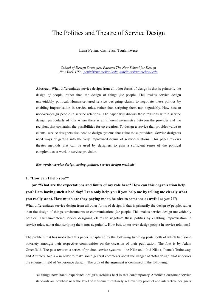 The Politics and Theatre of Service Design                                       Lara Penin, Cameron Tonkinwise           ...