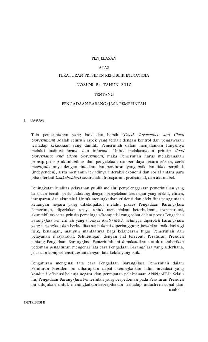 Penjelasan atas peraturan presiden nomor 54 tahun 2010