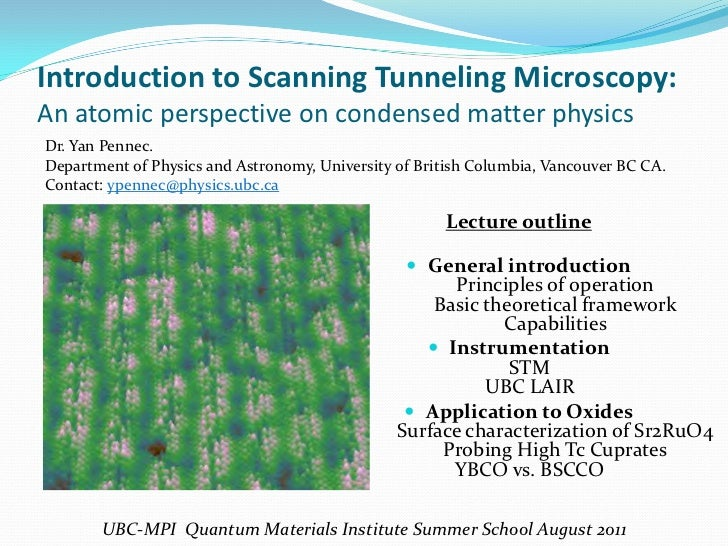 Introduction to Scanning Tunneling Microscopy:An atomic perspective on condensed matter physicsDr. Yan Pennec.Department o...