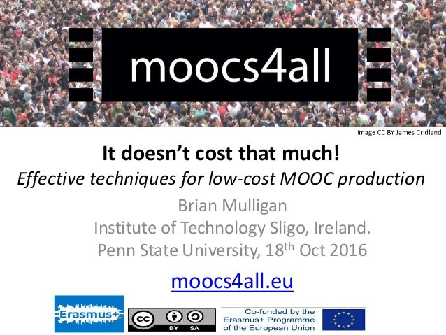 Effective techniques for low-cost production of MOOCs.