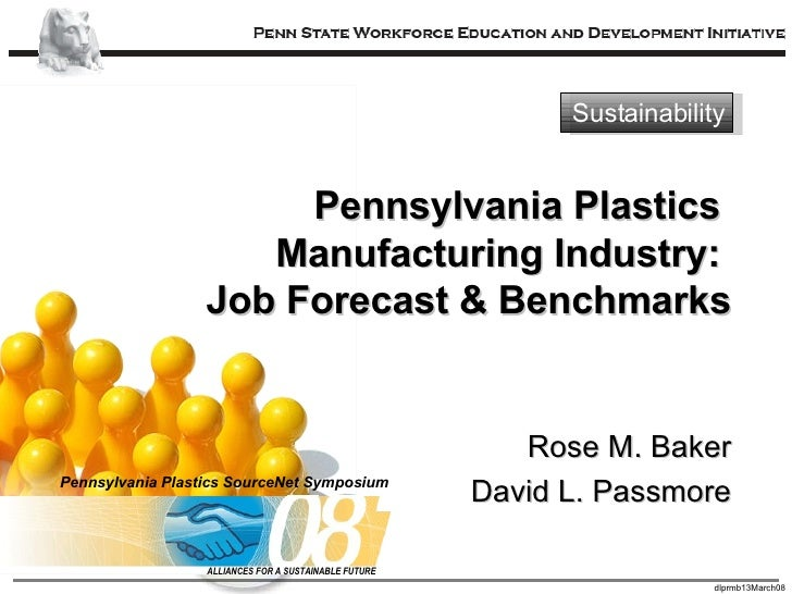 Pennsylvania Plastics  Manufacturing Industry:  Job Forecast & Benchmarks Rose M. Baker David L. Passmore Sustainability P...