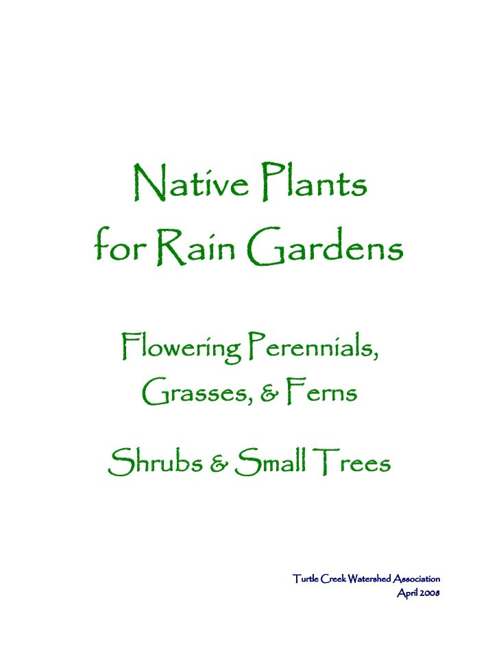Native Plantsfor Rain Gardens Flowering Perennials,  Grasses, & FernsShrubs & Small Trees               Turtle Creek Water...