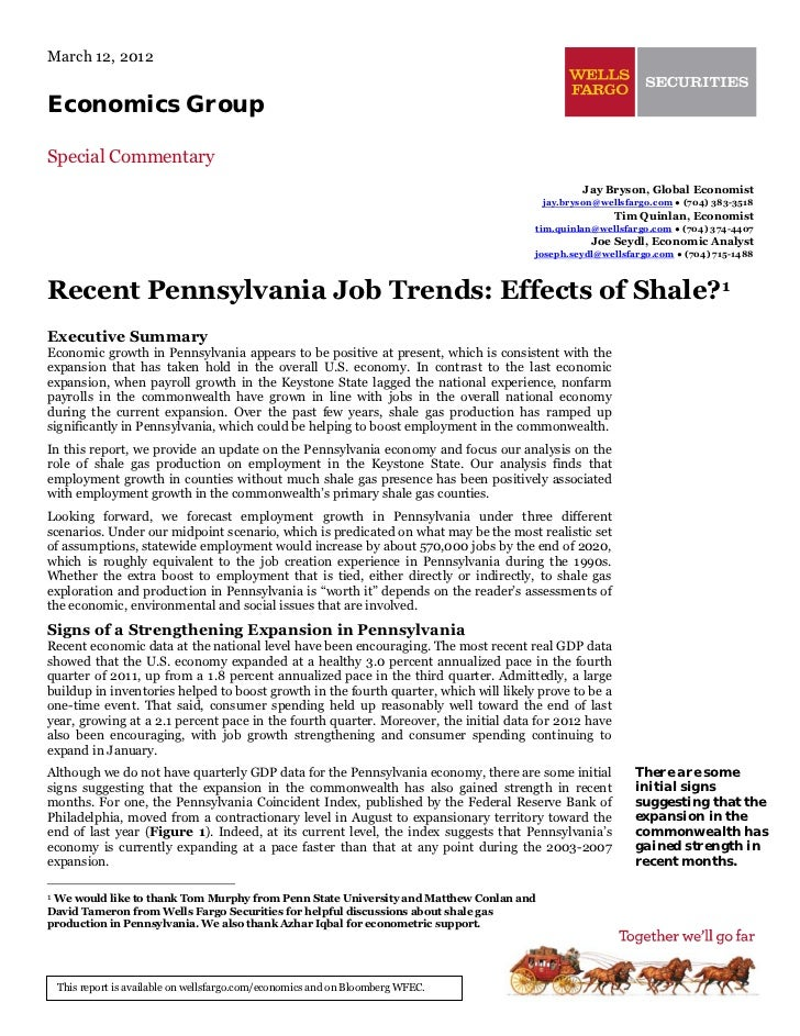 Recent Pennsylvania Job Trends: Effects of Shale?