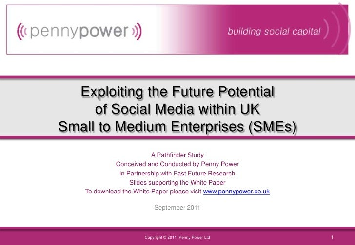Exploiting the Future Potentialof Social Media within UKSmall to Medium Enterprises (SMEs)<br />A Pathfinder Study<br />Co...