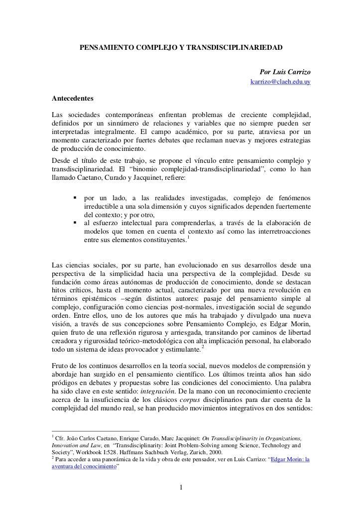 PENSAMIENTO COMPLEJO Y TRANSDISCIPLINARIEDAD                                                                              ...