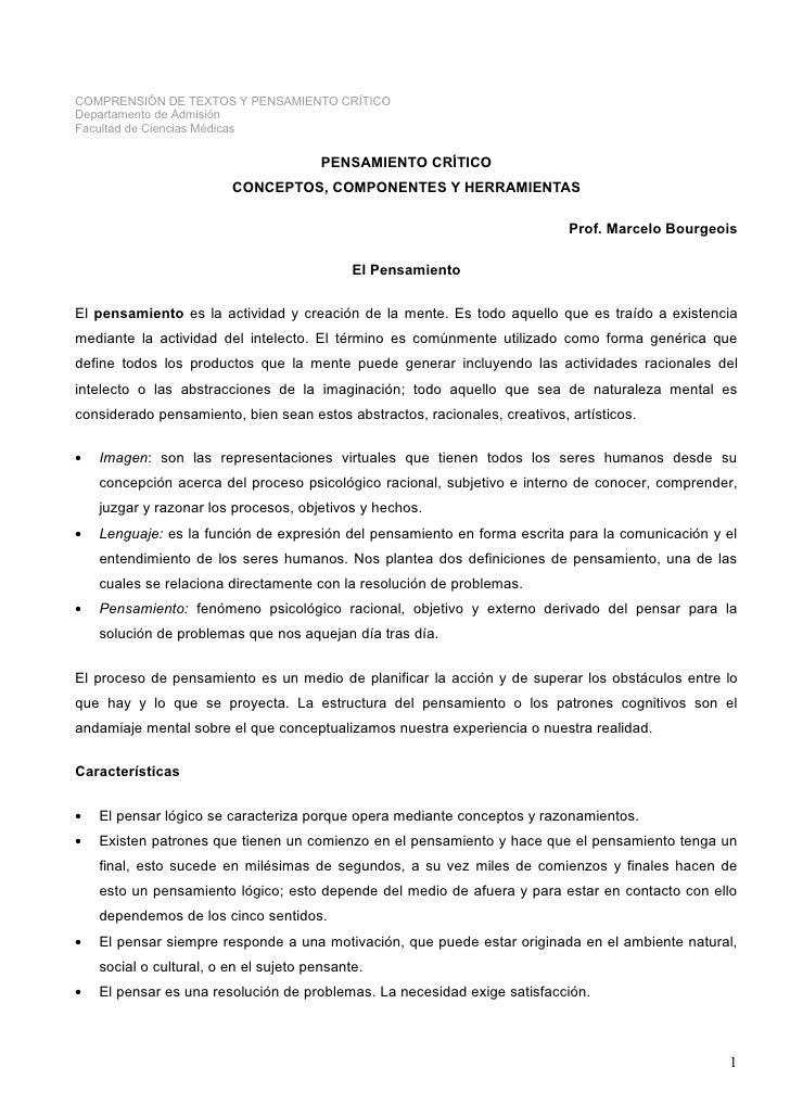 COMPRENSIÓN DE TEXTOS Y PENSAMIENTO CRÍTICO Departamento de Admisión Facultad de Ciencias Médicas                         ...