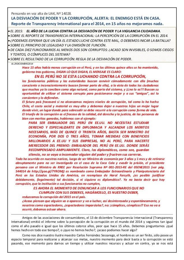 Pensando en voz alta de UAK, Nº 14028. LA DESVIACIÓN DE PODER Y LA CORRUPCIÓN, ALERTA: EL ENEMIGO ESTÁ EN CASA. Reporte de...