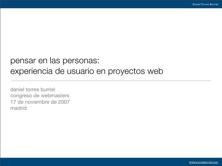 Pensar en las personas: experiencia de usuario en proyectos web