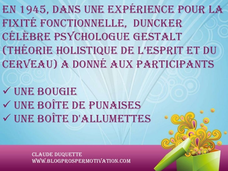 En 1945, dans une expérience pour lafixité fonctionnelle, Dunckercélèbre psychologue Gestalt(théorie holistique de l'espri...