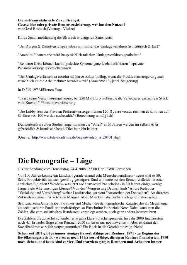 Die instrumentalisierte Zukunftsangst: Gesetzliche oder private Rentenversicherung, wer hat den Nutzen? von Gerd Bosbach (...