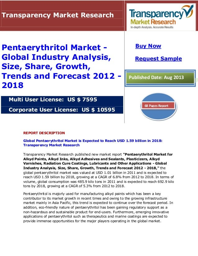 REPORT DESCRIPTION Global Pentaerythritol Market is Expected to Reach USD 1.59 billion in 2018: Transparency Market Resear...