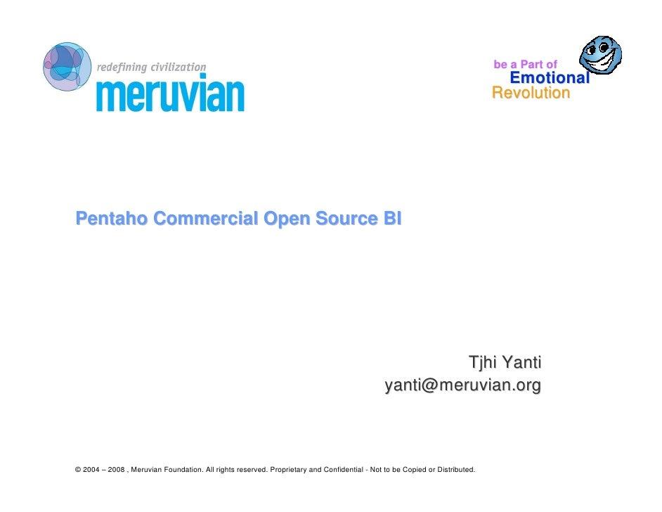 Pentaho Commercial Open Source BI