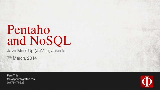 Pentaho and NoSQL