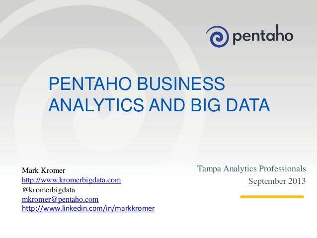 Pentaho Analytics at Tampa Analytics September Meetup