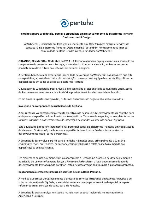 Pentaho webdetails acquistion