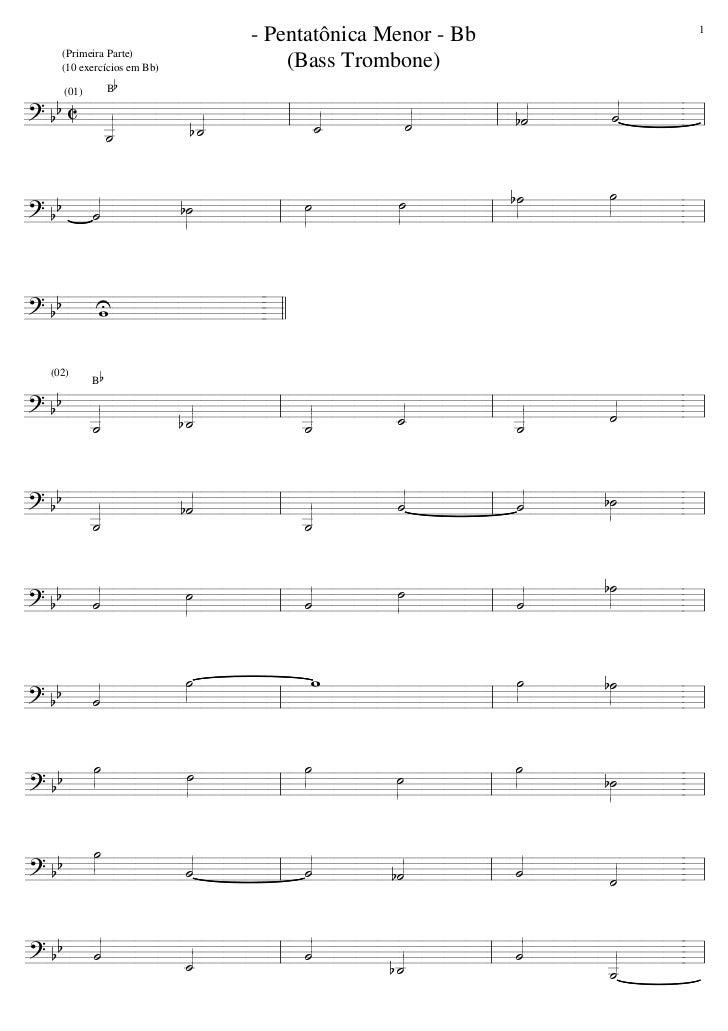 1                           - Pentatônica Menor - Bb   (Primeira Parte)   (10 exercícios em Bb)       (Bass Trombone)     ...