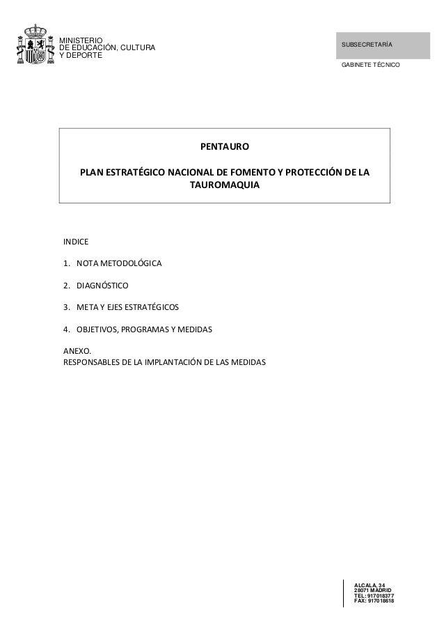 MINISTERIO DE EDUCACIÓN, CULTURA Y DEPORTE  SUBSECRETARÍA GABINETE TÉCNICO      PENTAURO  PLANESTRATÉGICONACIONALD...