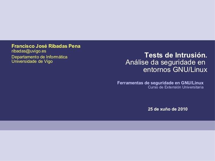 Tests de Intrusión. Análise da seguridade en  entornos GNU/Linux