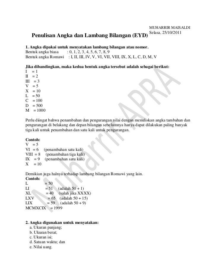 Penulisan angka dan lambang bilangan