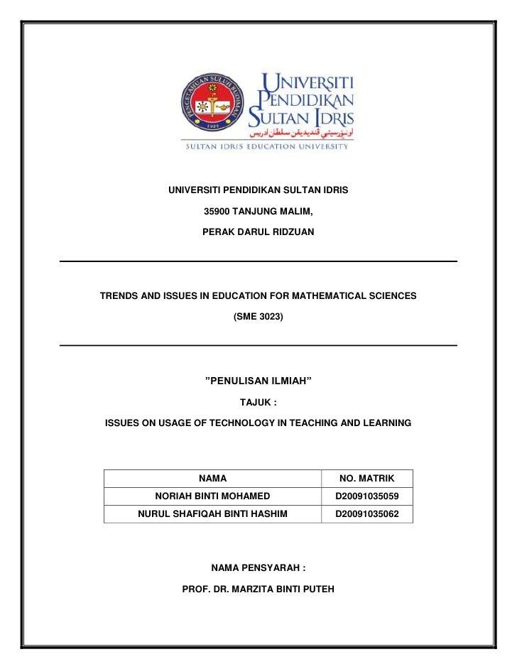 UNIVERSITI PENDIDIKAN SULTAN IDRIS                  35900 TANJUNG MALIM,                  PERAK DARUL RIDZUANTRENDS AND IS...