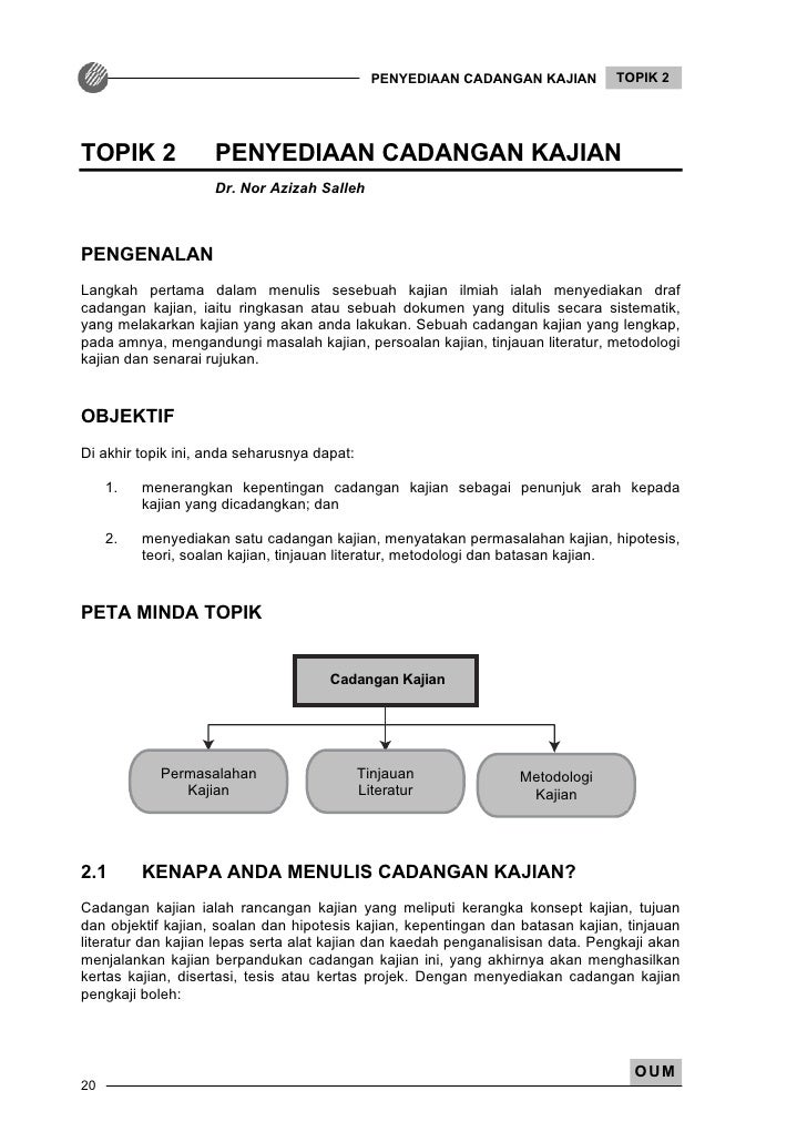PENYEDIAAN CADANGAN KAJIAN       TOPIK 2TOPIK 2             PENYEDIAAN CADANGAN KAJIAN                    Dr. Nor Azizah S...