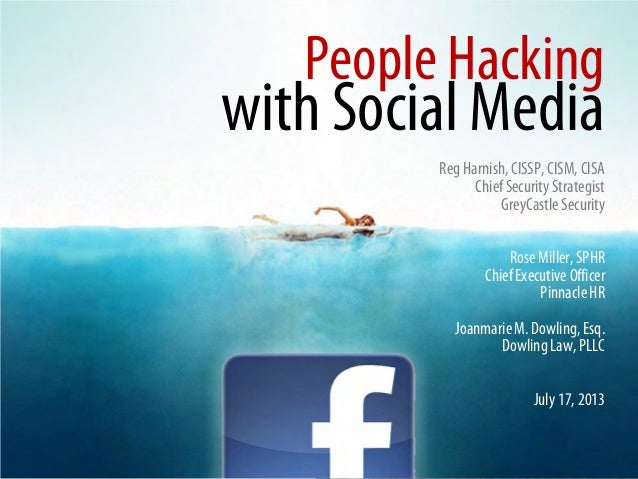 People Hacking with Social Media Reg Harnish,CISSP, CISM, CISA ChiefSecurity Strategist GreyCastle Security Rose Miller, S...